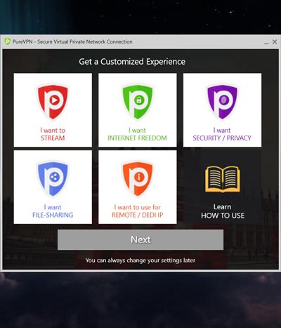 PureVPN desktop app screenshot