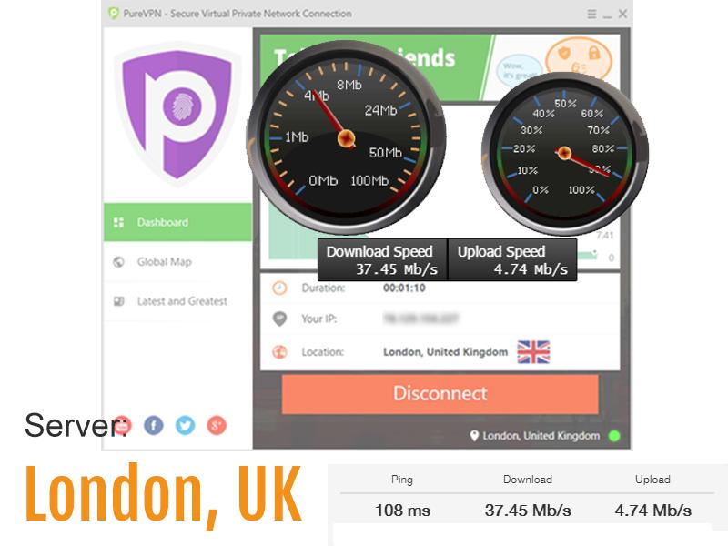 speed test screenshot - UK VPN server