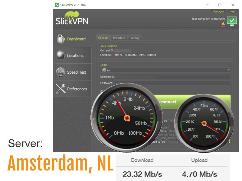 speed test screenshot - eu VPN server