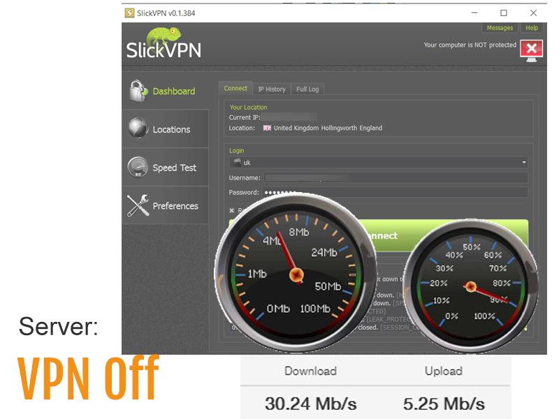 speed test screenshot - without VPN