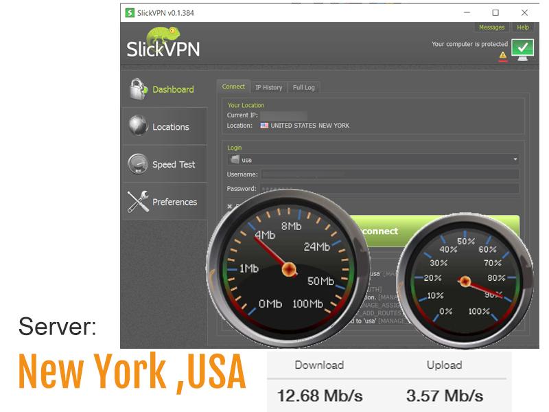 speed test screenshot - usa VPN server